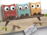 Owl Friends Peg Rack - Orange, Blue and Red - eco-friendly