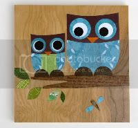 Mother and Child Owl Collage - blue tones - eco-friendly